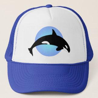 Orca Killer Whale Silhouette Blue Circle Trucker Hat