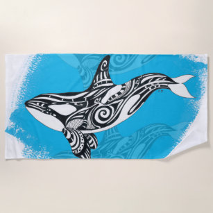 1052a1290 Orca Killer Whale Tribal Tattoo Spirit Blue Beach Towel