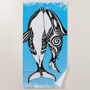 259014ef0 Orca Killer Whales Tribal Doodle Blue Art Beach Towel