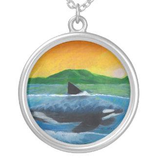 Orca Round Pendant Necklace