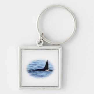 Orca;Southern Resident Killer Whale-L28 Orca Silver-Colored Square Key Ring