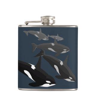 Orca Whale Art Flask Custom Orca Whale Drink Flask