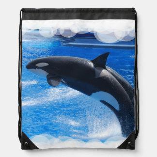 Orca Whale Drawstring Backpacks