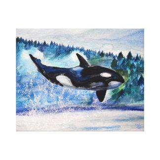 Orca whale watercolor Canvas Canvas Print