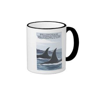 Orca Whales #1 - Bellingham, Washington Ringer Mug