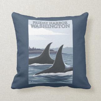 Orca Whales #1 - Friday Harbor, Washington Throw Pillows