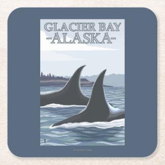 Orca Whales #1 - Glacier Bay, Alaska Square Paper Coaster