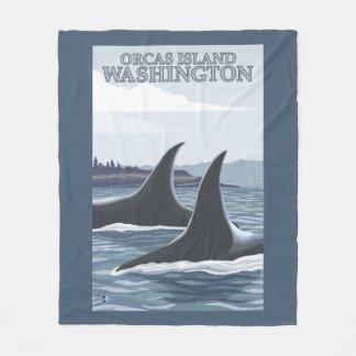Orca Whales #1 - Orcas Island, Washington Fleece Blanket