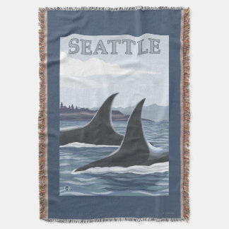 Orca Whales #1 - Seattle, Washington Throw Blanket