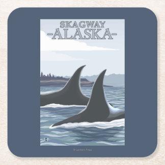 Orca Whales #1 - Skagway, Alaska Square Paper Coaster