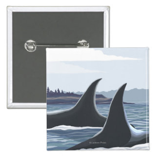 Orca Whales #1- Vintage Travel Poster Pinback Button