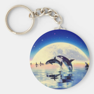 Orca Whales Basic Round Button Key Ring