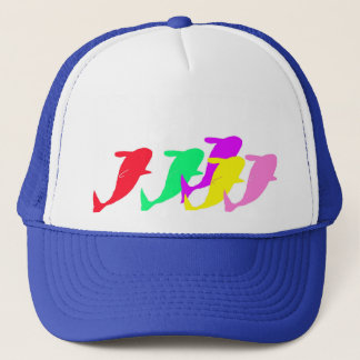 orca whales in multicolor trucker hat