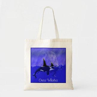 Orca Whales in Ocean Scene Tote Bags