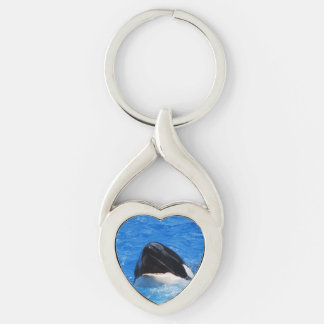 Orca Whales Silver-Colored Heart-Shaped Metal Keychain