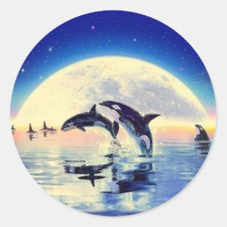 Orca Whales Round Sticker