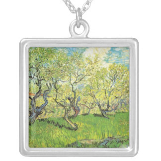 Orchard in Blossom, Vincent van Gogh Silver Plated Necklace
