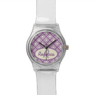 Orchid and mauve chic diamond pattern watch