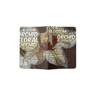 Orchid Floral Blossom Word Cloud Over Burgundy Passport Holder