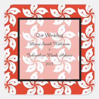 Orchid Hong Kong Flag Pattern Wedding Favor Square Sticker
