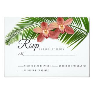 Orchid & Palm Leaf Tropical Floral Wedding RSVP Card