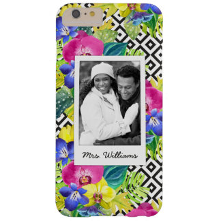 Orchid & Palm Leaves | Add Your Photo & Name Barely There iPhone 6 Plus Case
