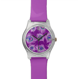 Orchid Peacock Feathers on Amethyst Purple Watch