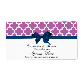 Orchid Purple Moroccan Navy Bow Party Water Label Shipping Label
