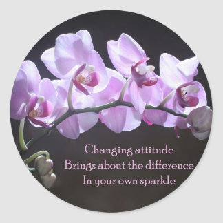 Orchid sticker- Changing Attitude Classic Round Sticker