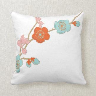 Orchid style pastel flowers decorative pillow
