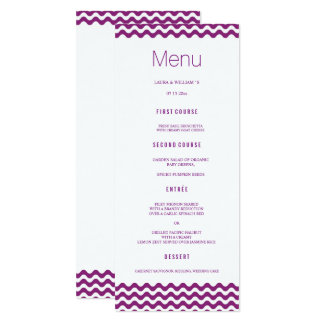 Orchid Wave Chevron Wedding Dinner Menu Cards 10 Cm X 24 Cm Invitation Card