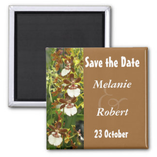Orchid Wedding Save the Date Square Magnet