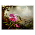 Orchids and Hummingbirds near a Mountain Lake Poster