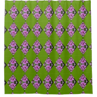 Orchids In Diamond Pattern Shower Curtain