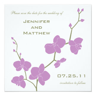 Orchids Save the Date - Vintage Olive and Violet 13 Cm X 13 Cm Square Invitation Card