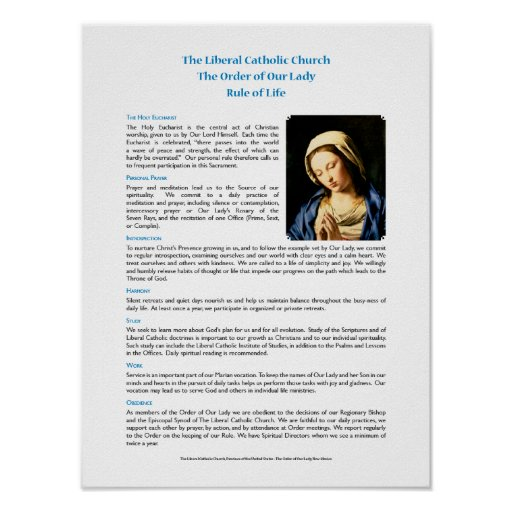 Order of Our Lady Rule of Life Poster
