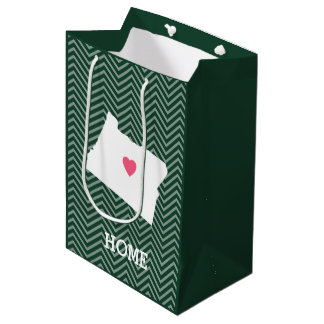 Oregon Map Home State Love with Optional Heart Medium Gift Bag