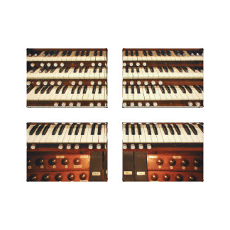 Organ console stretched canvas print