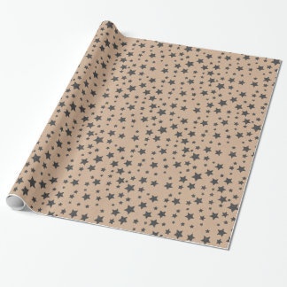 Organic Living Star Brown Craft Paper Gift Wrap