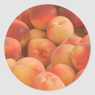 organic peaches classic round sticker