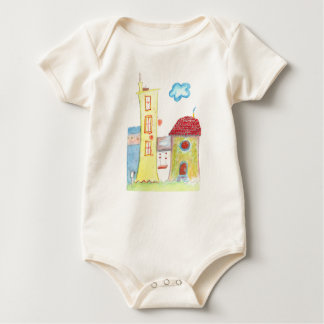 Organic Whimsical Houses Baby Bodysuit