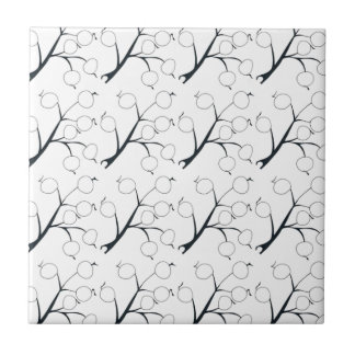 oriental berry black and white small square tile