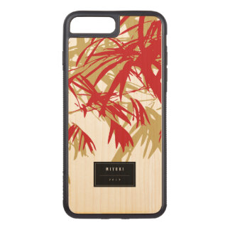 Oriental Chic Modern Zen Red Bamboo Leaves Carved iPhone 8 Plus/7 Plus Case