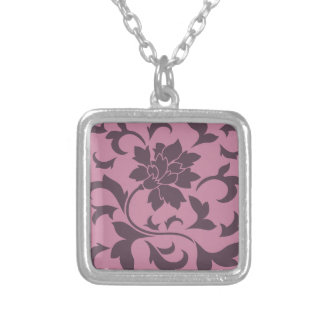 Oriental Flower - Cherry Chocolate & Strawberry Silver Plated Necklace