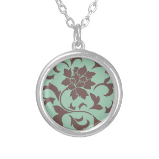Oriental Flower - Chocolate Hemlock Silver Plated Necklace