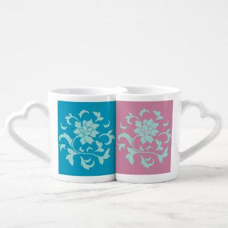 Oriental Flower - Mint - Blue&Pink Coffee Mug Set