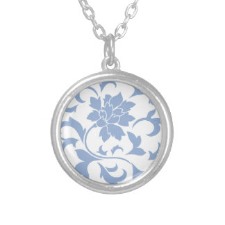 Oriental Flower - Serenity Blue Silver Plated Necklace