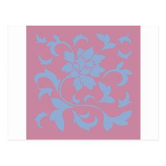 Oriental Flower - Serenity Blue & Strawberry Postcard