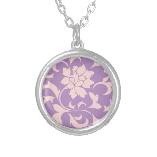 Oriental Flower - Strawberry Lilac Silver Plated Necklace