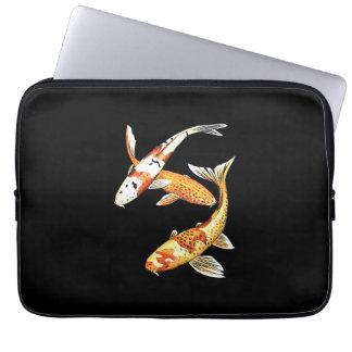 Oriental Koi Goldfish on Black Laptop Sleeve